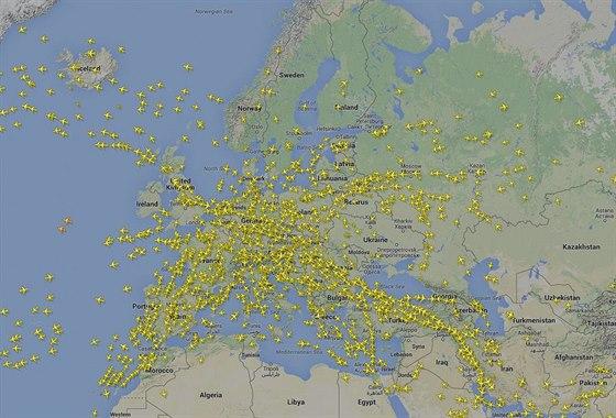 Letecký provoz nad Evropou v úterý 4. listopadu krátce po 15 hodině