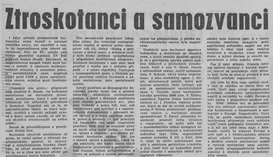 Část textu Rudého práva ze 12. ledna 1977