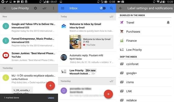 Do Inboxu se probojuje jen malý zlomek zpráv. Ostatní jsou sdružené v balíčku s nízkou prioritou. Balíčky si může definovat i uživatel.
