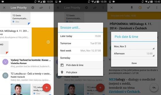 Nejzajímavější funkcí bude pro mnohé snadná proměna e-mailu na úkol s časovým nebo lokačním upozorněním. Stačí přetažením poslat e-mail doleva a pak vybrat, kdy se má připomenout.