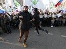 """Ruský pochod """"My jsme jednotní"""" podporující kremelskou politiku prošel v úterý Moskvou. (4.11. 2014)"""