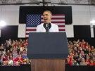 Barack Obama během předvolební kampaně v Maine (30. října 2014)