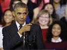 Americk� prezident Barack Obama b�hem sv�ho projevu ve st�t� Rhode Island (31. ��jna 2014)