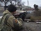Povstalecký bojovník v Doněcku (2. listopadu 2014)