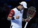 Kei Nišikori se raduje z vítězného úderu v souboji s Andym Murraym na Turnaj mistrů.