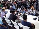Rodiče zmizelých studentů v Mexiku (7. listopadu 2014).