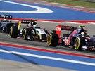 Zleva Kevin Magnussen, Sergio Perez a Daniil Kvjat v kvalifikaci na Velkou cenu...