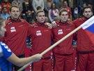 Čeští házenkáři při hymně před duelem s Makedonií.