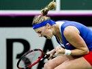 JO! Petra Kvitová se raduje během finále Fed Cupu proti Němce Angelique Kerberové.