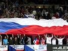 ELEKTRIZUJÍCÍ ATMOSFÉRA. Čeští fanoušci na finále Fed Cupu v pražské O2 areně.