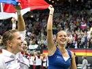 ÚSMĚVY NA VŠECHNY STRANY. České tenistky se radují ze zisku Fed Cupu.