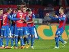 Radost plzeňských fotbalistů z gólu v Jihlavě