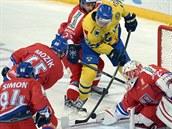 Před českým gólmanem Šimonem Hrubcem se ocitl Andreas Engqvist ze Švédska.