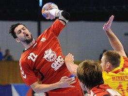 Petr Linhart v utkání proti Makedonii.