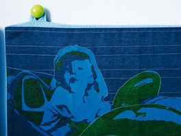 Spodní postel je obložená textilními kapsáři s motivem fotografie Vojty na