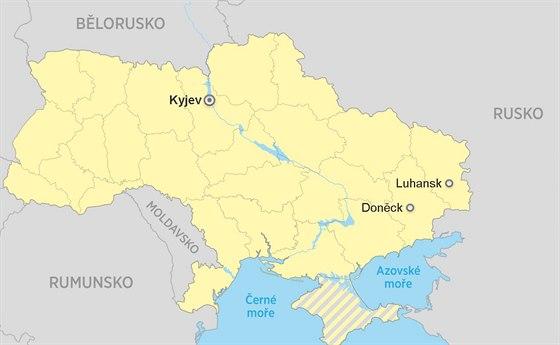 Doněck, Luhansk, Kyjev, Mapa