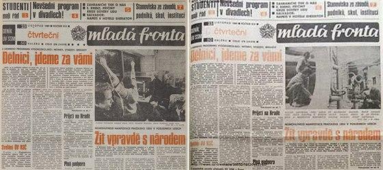 Výtisk Mladé fronty, jak ho připravili redaktoři s fotografií Havla a Kubišové a změna po zásahu komunistických aparátčíků.