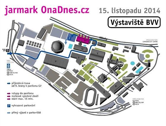 Plánek Výstaviště v Brně s označením pavilonu G2, kde se v sobotu 15.11. koná charitativní Jarmark OnaDnes.cz.