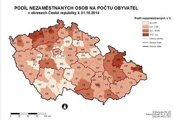 Nezaměstnanost v okresech v říjnu 2014