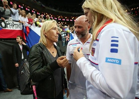 SETKÁNÍ S LEGENDOU. Petra Kvitová a David Kotyza se při finále týmové soutěže Fed Cupu potkali s Martinou Navrátilovou.