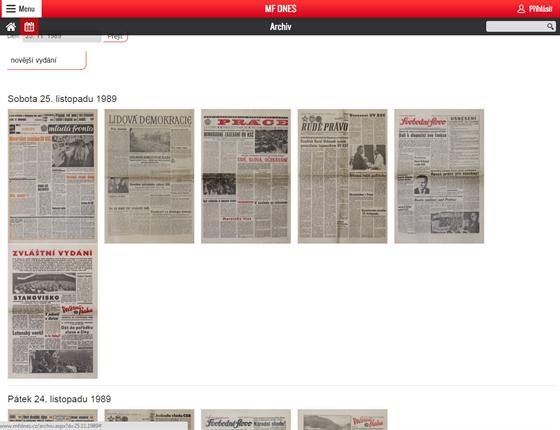 Archiv titulních stran novin z listopadu 1989 na mfdnes.cz