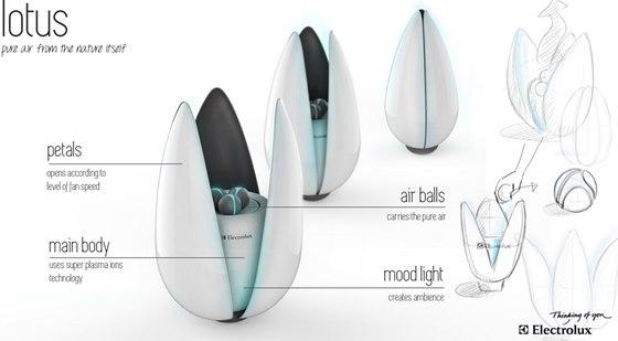 Projekt Lotus: jde o čističku vzduchu se třemi přenosnými, dobíjecími čistícími koulemi.