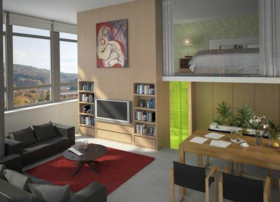 Vizualizace: velký apartmán s plochou 148 metrů čtverečních má v mezaninu ložnici, dětský pokoj i šatnu, v přízemí obývací, jídelní a kuchyňskou část, ale také pracovnu.
