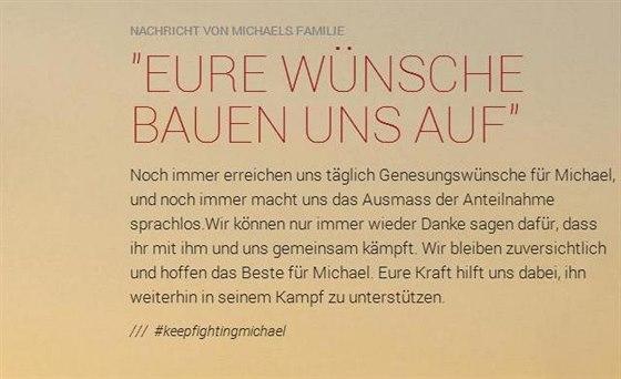 Zpráva rodiny Michaela Schumachera