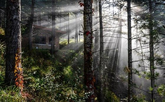 """Bhútán, slunce proráží ranní mlhu. Nejlepší podmínky pro focení takovéto fotografie je šikmé sluneční světlo pronikající mlhou """"té správné hustoty"""". Je třeba počkat na správný okamžik, kdy mlha není příliš hustá, ale ještě není zcela rozpuštěná…"""