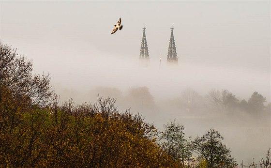 Pohled na baziliku svatého Petra a Pavla v Praze na Vyšehradě. Vysoké ISO umožnilo dostatečně zaclonit i použít rychlý čas tak, aby letící pták nebyl rozmazaný.