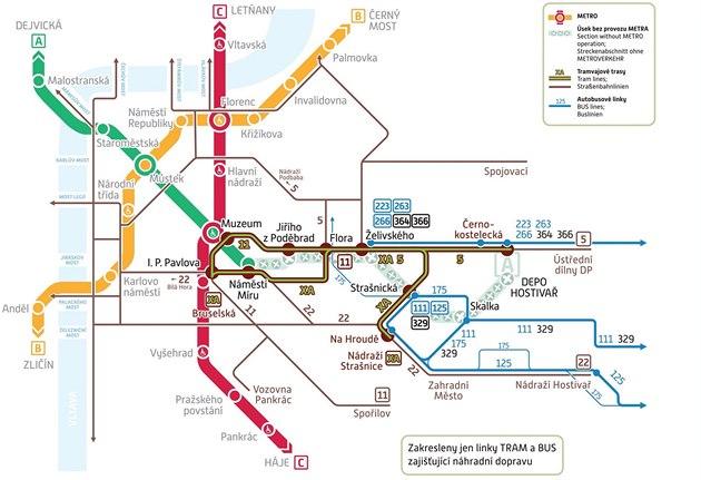 Výluka metra mezi stanicemi Náměstí Míru a Depo Hostivař (15.-17.11.2014)