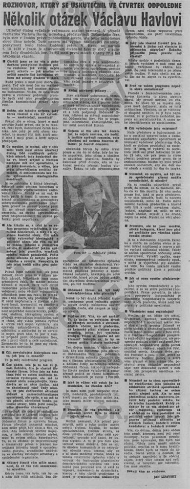 První rozhovor s Václavem Havlem v Rudém právu (2. prosince 1989)