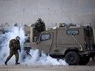 Izraelská policie krotí palestinské protesty na Západním břehu (18. listopadu 2014)