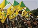 Přehlídka šíitské milice Kataib Hizballáh v Bagdádu (25. července 2014).
