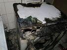Požár pračky v jihomoravských Pohořelicích (9. listopadu 2014).