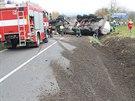Nehoda cisterny u Vlkoše na Hodonínsku (10. listopadu 2014).