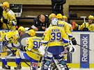 Utkání 20. kola hokejové extraligy: PSG Zlín - HC Verva Litvínov, 14. listopadu ve Zlíně. Zlínská střídačka.