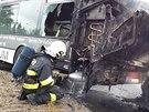 Požár autobusu v Pardubicích Doubravicích.