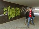 Některé stavby navazující na tunel Blanka jsou nedodělané, nebo už je stihli poničit sprejeři. (11. listopadu 2014).