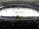 Kladenský stadion při utkání domácích hokejistů se Šumperkem.
