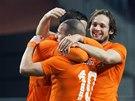 Radost nizozemských fotbalistů po gólu.
