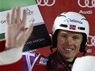 Henrik Kristoffersen po triumfu ve slalomu v Levi.
