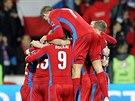 HROMADA RADOSTI. Čeští fotbalisté slaví gól proti Islandu.