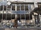 Boje mezi separatisty a vládními jednotkami poničily řadu budov v Doněcku (Ukrajina, 15. listopadu 2014).