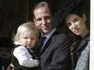 Andrea Casiraghi, jeho syn Sacha a manželka  Tatiana Santo Domingová (Monte Carlo, 19. listopadu 2014)
