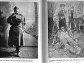 """Vlevo civilní fotografie před odchodem na frontu s titulkem """"Pýcha rodiny"""". Vpravo o několik týdnů později."""
