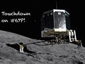 Fotomontáž přistání sondy na kometě.