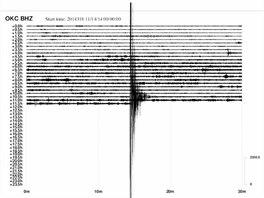 Otřes v Karviné zaznamenal seismograf v ostravské stanici. (14. listopadu 2014)