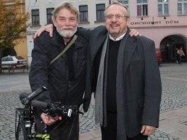 Jaroslav Marek s kamarádem - někdejším disidentem Miroslavem Mertou.