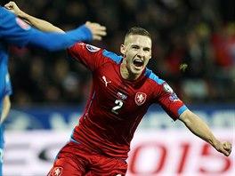 USM�VAV� LEDADLO. Pavel Kade��bek slav� g�l proti Islandu.